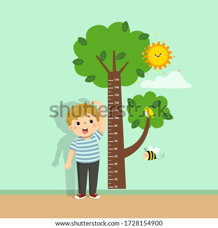 Vector illustration cute cartoon boy measuring his height with tree height chart on the wall.