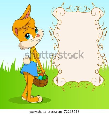 Vector illustration. Cute cartoon easter bunny girl with basket of egg and poster on background