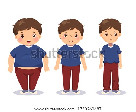 Vector illustration cute cartoon fat boy, average boy, and skinny boy. Boy with different weight. Foto stock ©