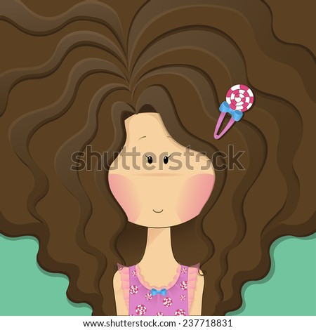 Stock Photo vector illustration cute cartoon girl with beautiful long curly brunette hair and candy bobby pin