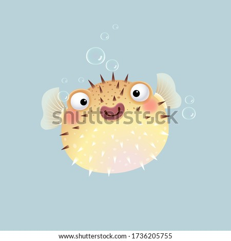Vector illustration cute cartoon puffer fish on gray background. stock photo