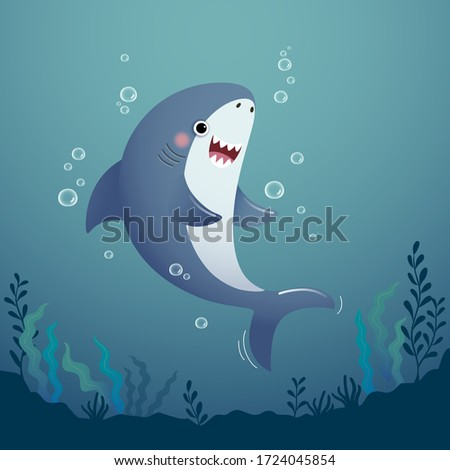 Vector illustration cute cartoon shark in the deep blue water. stock photo