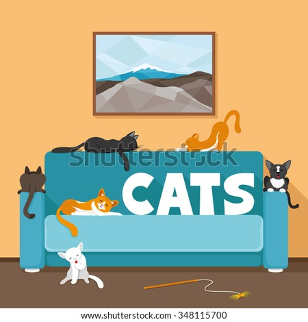 vector illustration cute cats