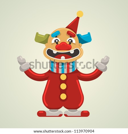 Vector illustration, cute clown, cartoon concept, - stock vector