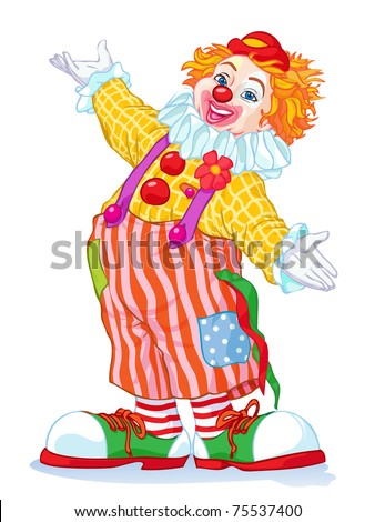 Vector illustration, cute clown, cartoon concept, white background.