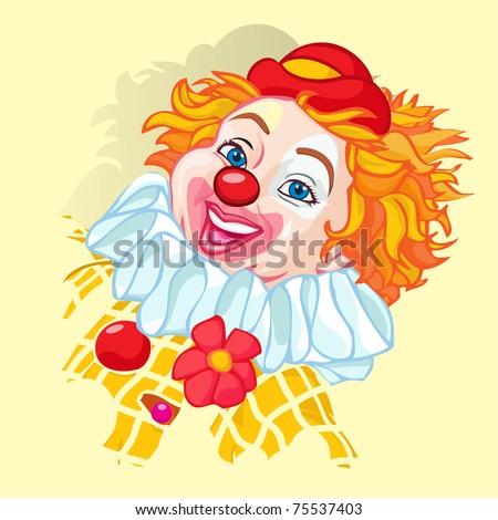 Vector illustration, cute clown head, cartoon concept.