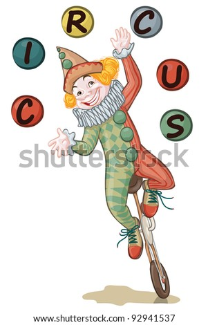 Vector illustration, cute clown juggling, card concept, white background.