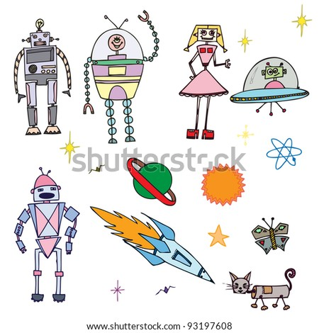 Vector illustration, cute decorative robots, card concept.