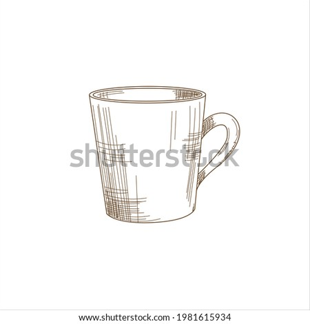 Vector Illustration cute doodle style coffee or tea cup. Isolated icon for web, print, menu, tea or coffee shop and cafe, magasine. Photo stock ©