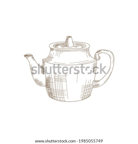 Vector Illustration cute doodle style teapot, kettle. Isolated icon for web, print, menu, tea or coffee shop and cafe, magasine. Photo stock ©