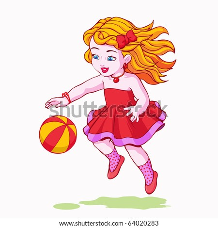 vector illustration, cute girl playing, cartoon concept, white background. - stock vector