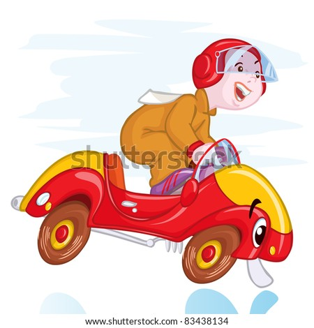 Vector illustration, cute kid in a cute race car, card concept. - stock vector