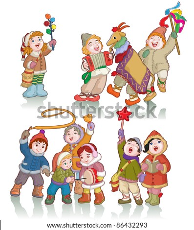 Vector illustration, cute kids celebrating winter, cartoon concept, white background.