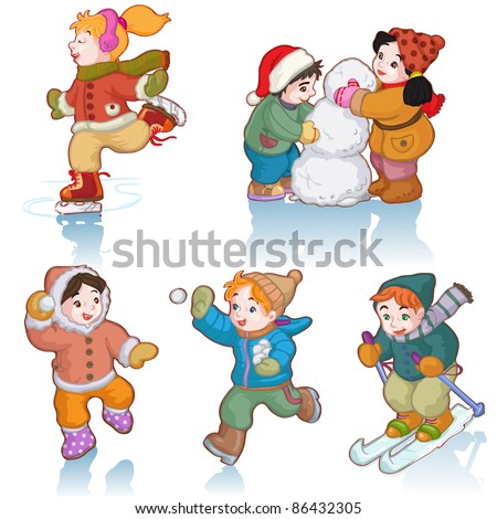 Vector illustration, cute kids enjoying winter, cartoon concept, white background.