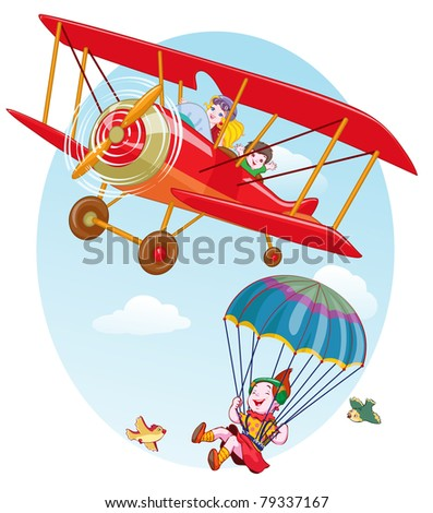 Vector illustration, cute kids flying, cartoon concept.
