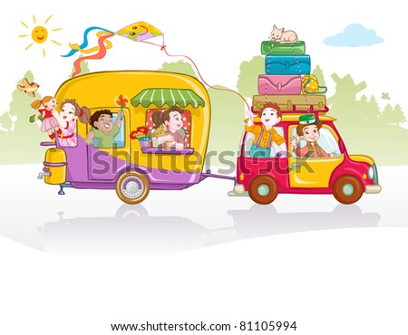 Vector illustration, cute kids going in a trip, card concept.