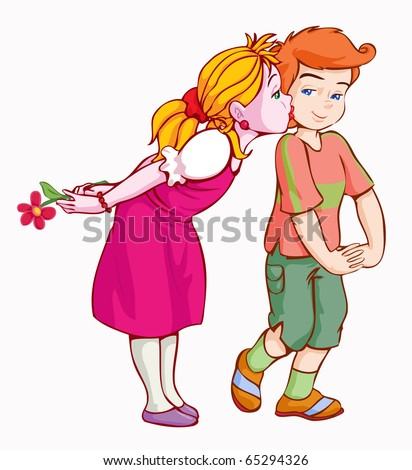 vector illustration, cute kids inlove, cartoon concept, white background.
