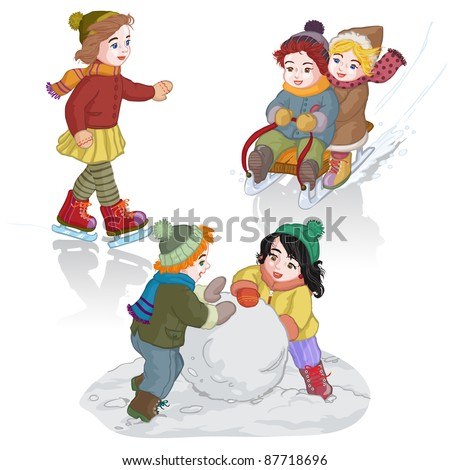 Vector illustration, cute kids playing winter games , cartoon concept ...