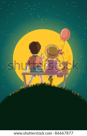 Vector illustration, cute kids sitting on a bench in a clear night, cartoon concept.