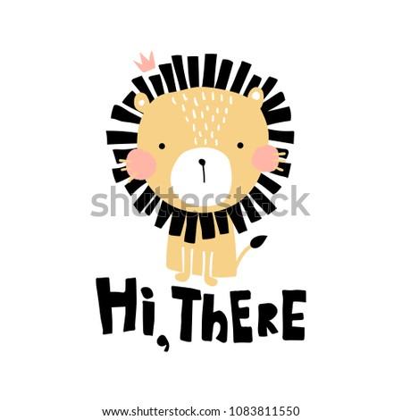 vector illustration  cute lion