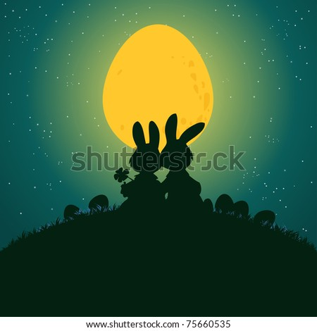 Vector illustration, cute rabbits under egg light, card concept.