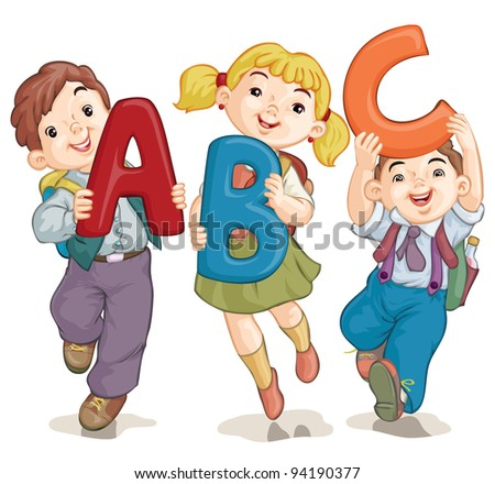Vector illustration, cute school kids with letters, card concept, white background.