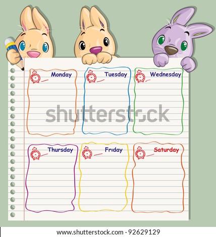 Vector illustration, cute school schedule , card concept.