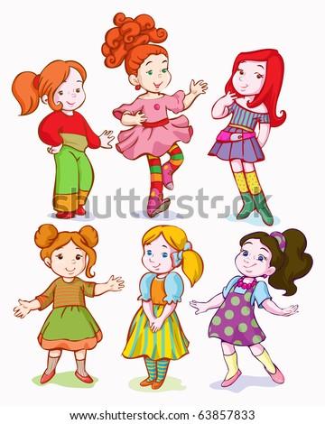 vector illustration, cute schoolgirls, cartoon concept, white background