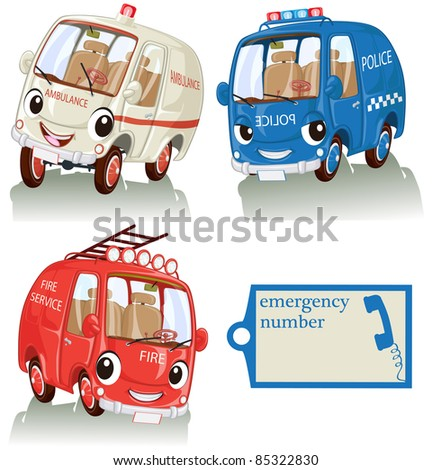 Vector illustration, cute smiling emergency cars with label, card ...