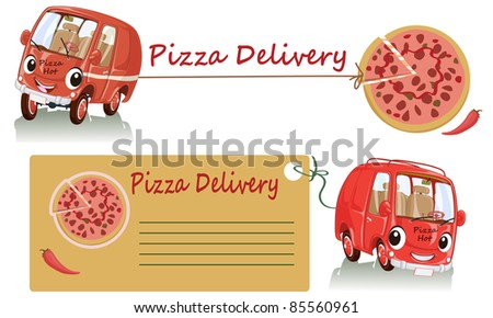 Vector illustration, cute smiling pizza car delivery, cartoon concept, white background.