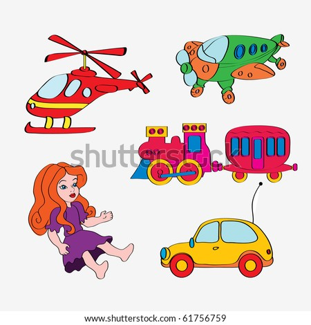 vector illustration, cute toys, white background, cartoon concept ...