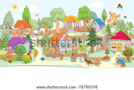 Vector illustration, cute village, card concept. - stock vector