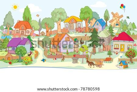 Vector illustration, cute village, card concept.