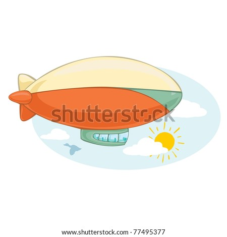Vector illustration, cute zeppelin, cartoon concept.