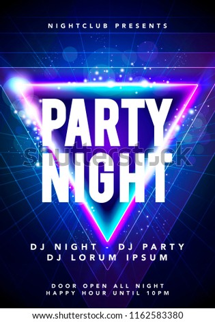 Vector illustration dance party poster background template with glow, lines, highlight and modern geometric shapes in blue colors. Music event flyer or abstract banner  #1162583380
