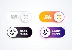 Vector illustration day and night mode switch set. Simple concept of interface ui symbol. On Off or Light and Dark Buttons.