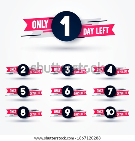 Vector Illustration Days Left Counter. Countdown 10 To 1 stock photo