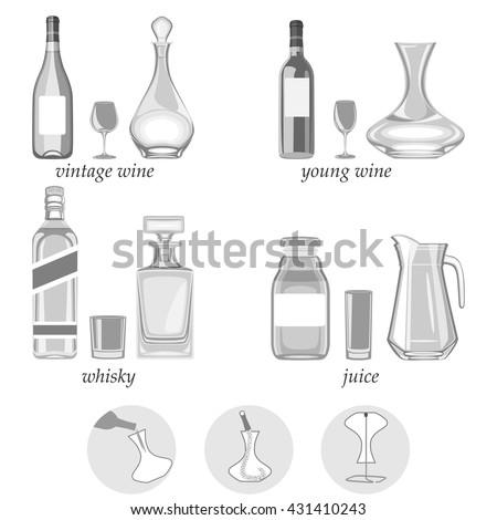 vector illustration decanters