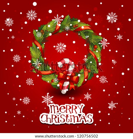 Vector illustration - decorated christmas wreath. Christmas  card