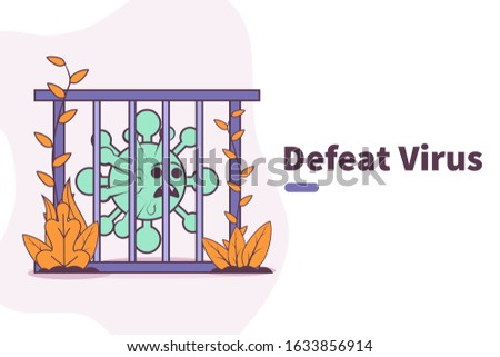 Vector illustration defeat coronavirus. conquest the corona virus. taming the virus. imprison the virus. coronavirus vaccine concept. cure the corona virus . novel coronavirus 2019-ncov quarantine