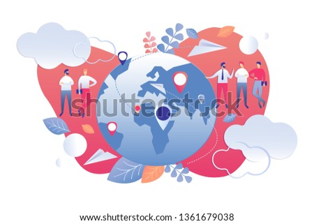 Vector Illustration Demographic Analysis Cartoon. Statistical Indicators Population Planet using World Map. Men in Business Suits Discuss Population Growth Statistics in Countries and Cities.