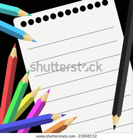 Vector illustration depicting colored pencils and notes