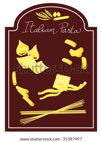 Vector illustration depicting some typical ingredients of Italian cuisine, layout graphically on a decorative shape