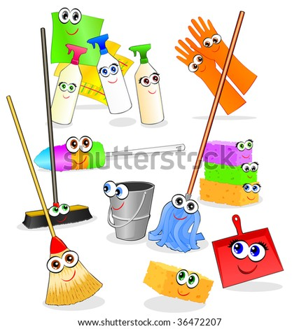 Vector illustration depicting various tools and accessories for cleaning, with happy smiling faces