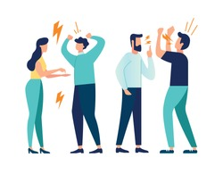 vector illustration design concept on white background. a set of a couple of people quarrel and swear. Aggressive people yell at each other. design graphics in a flat stylish style vector