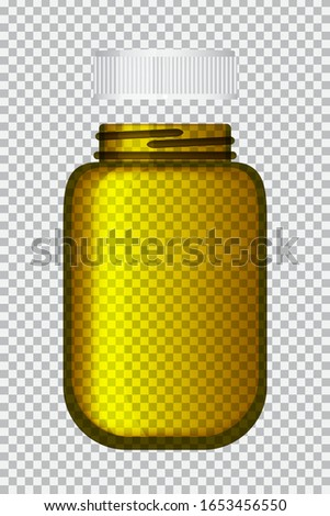 Vector illustration design, empty glass jar packaging, supplement and medicine, isolated on transparent background.
