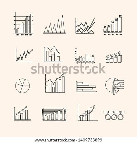 Vector illustration design, graphing icon set