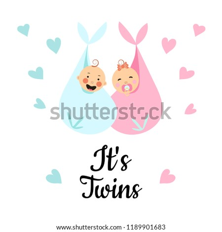Vector Illustration. Design template card with hand lettering for baby shower. Cute funny twins with hearts around. Poster for the kid's birthday.