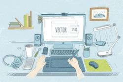 Vector illustration desktop designer. Drawn in sketch style. Organization of modern business workspace in the office.