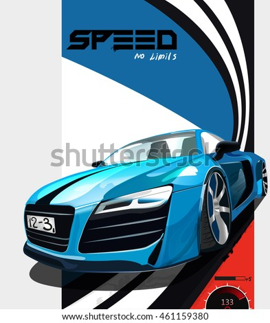 vector illustration. Detailed sports car. Poster advertising for cars, sports racing.